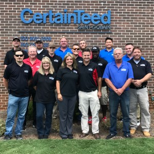 Total Pro Roofing team members at the CertainTeed Peachtree City manufacturing facility.
