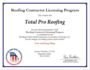 RSMCA Georgia Roofing License Voluntary Program - Total Pro Roofing