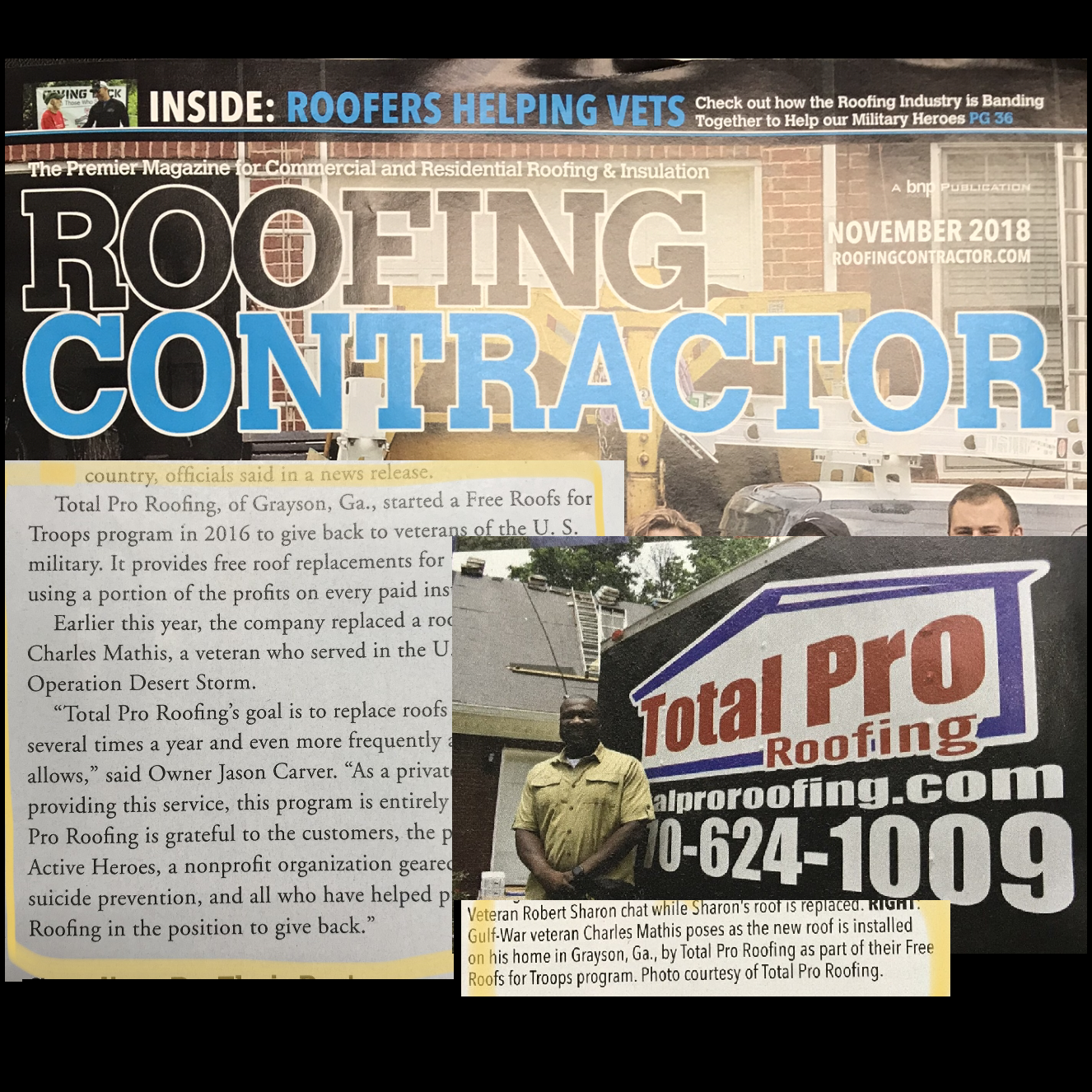 Roofing Contractor november 2018 total pro roofing collage