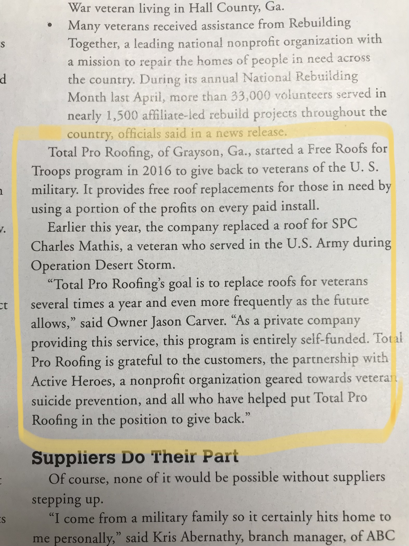 Total Pro Roofing - exerpt roofing contractor magazine november 2018